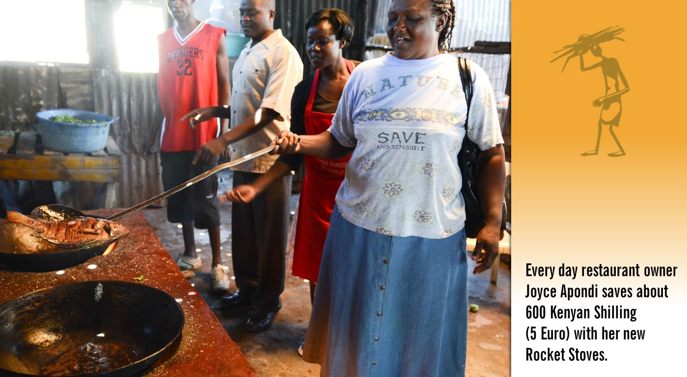 Every day restaurant owner Joyce Apondi saves about 600 Kenyan Shilling