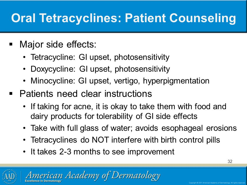 Oral Tetracyclines: Patient Counseling