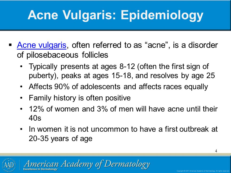 Acne Vulgaris: Epidemiology