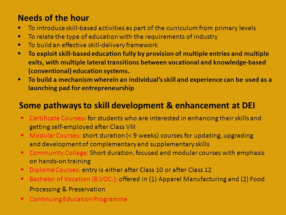 Some pathways to skill development & enhancement at DEI