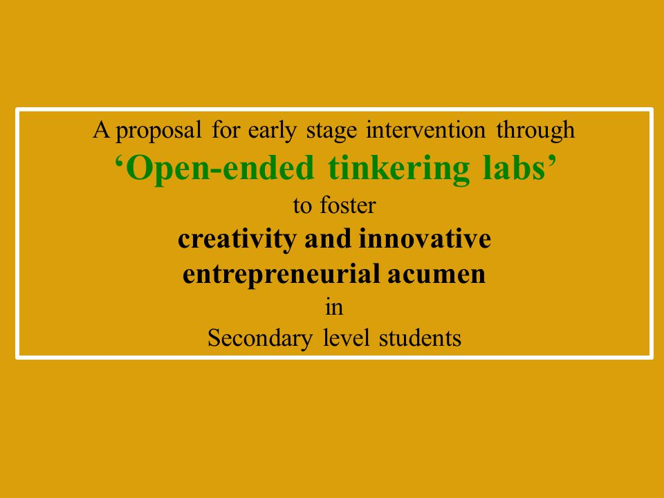 'Open-ended tinkering labs'