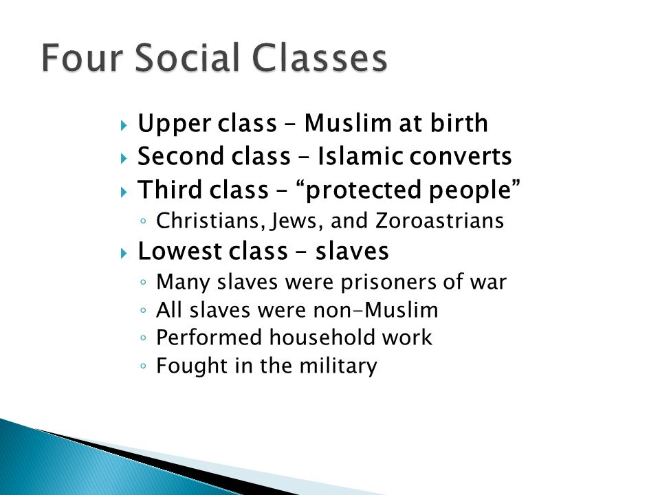 Four Social Classes Upper class – Muslim at birth