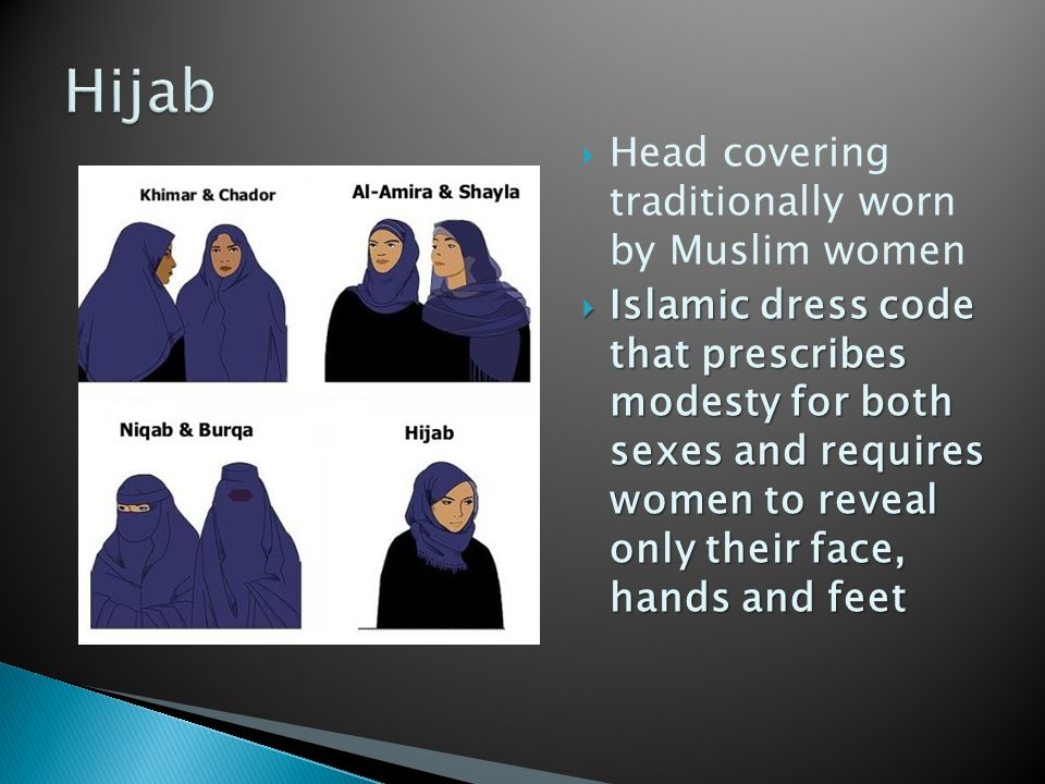 Hijab Head covering traditionally worn by Muslim women