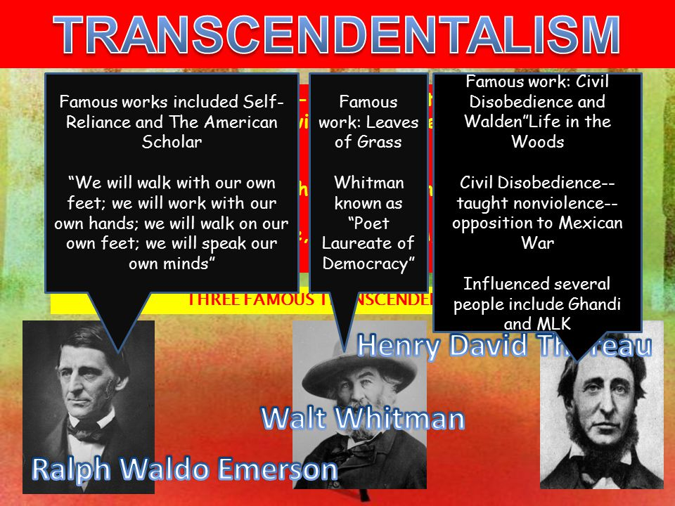 THREE FAMOUS TRANSCENDENTALISTS