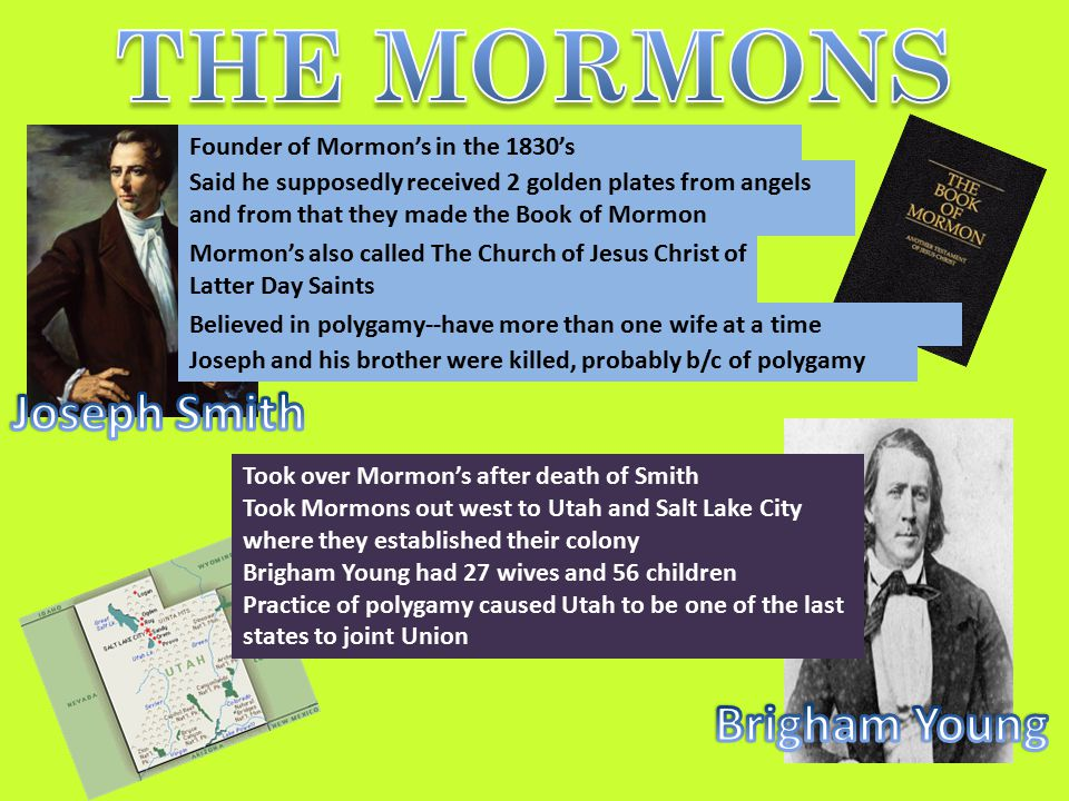 THE MORMONS Joseph Smith Brigham Young