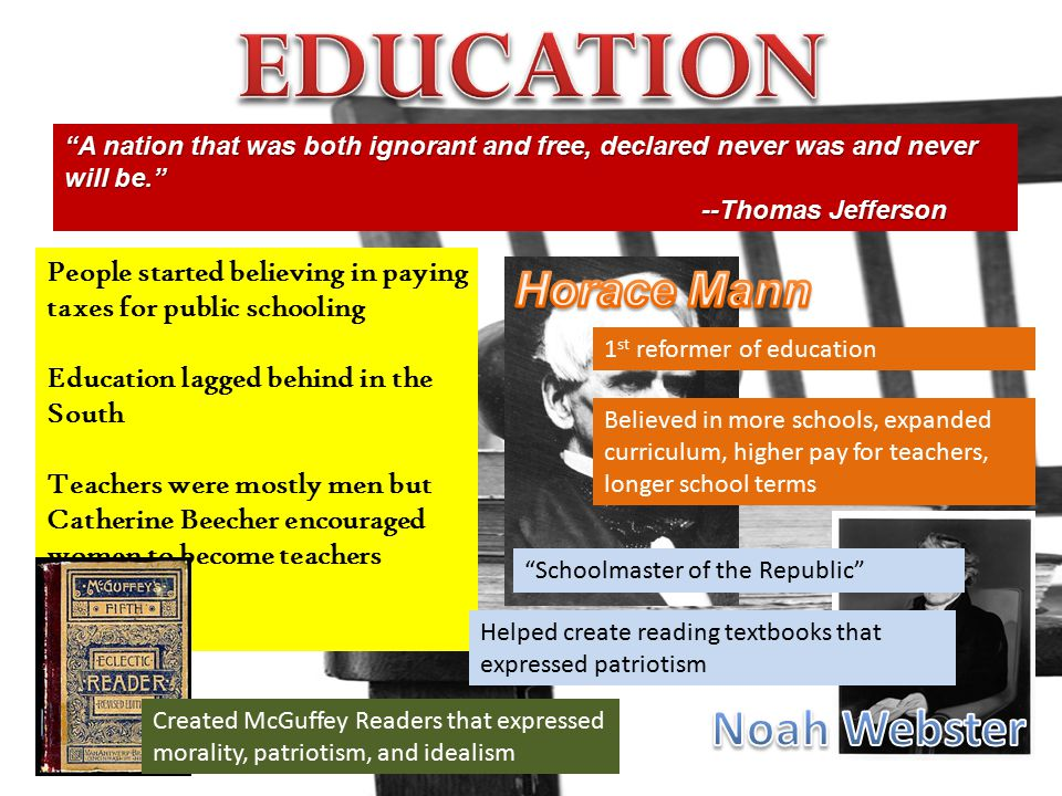 EDUCATION Noah Webster Horace Mann