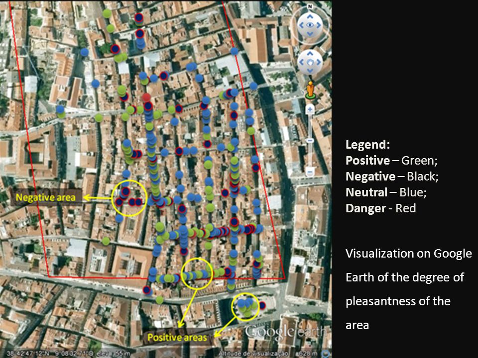 Visualization on Google Earth of the degree of pleasantness of the area