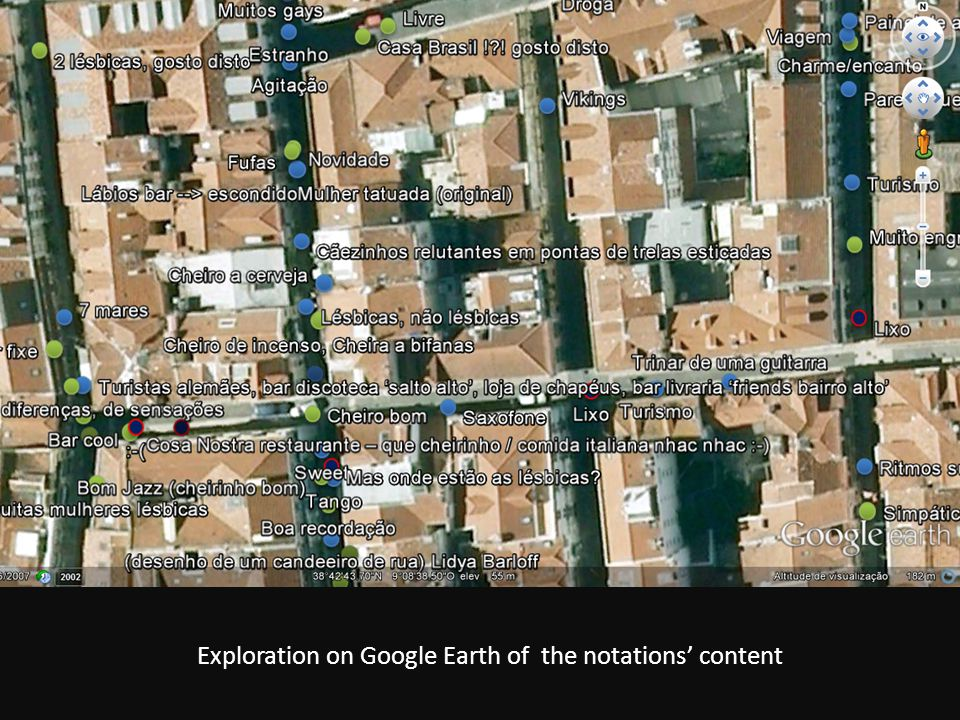 Exploration on Google Earth of the notations' content