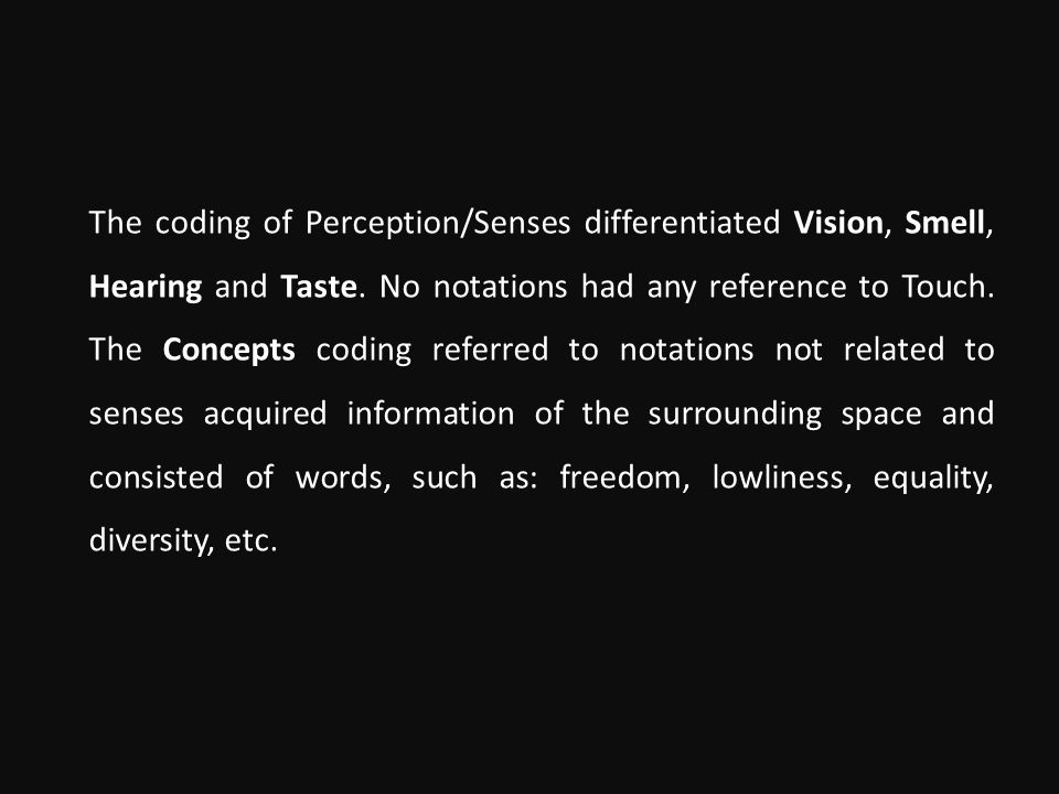 The coding of Perception/Senses differentiated Vision, Smell, Hearing and Taste.