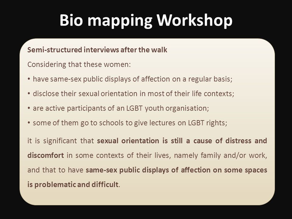 Bio mapping Workshop Semi-structured interviews after the walk