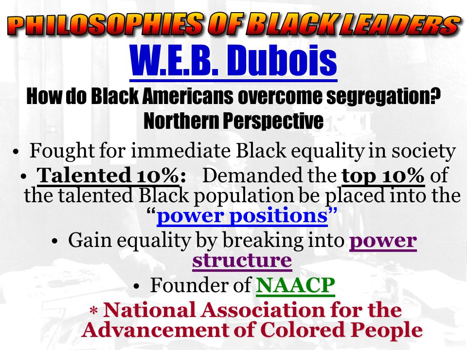 W.E.B. Dubois How do Black Americans overcome segregation