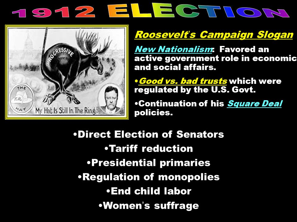 1912 ELECTION Roosevelt's Campaign Slogan Direct Election of Senators