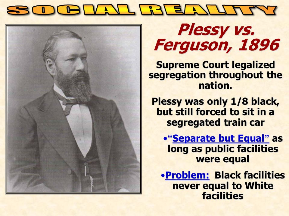 Plessy vs. Ferguson, 1896 SOCIAL REALITY
