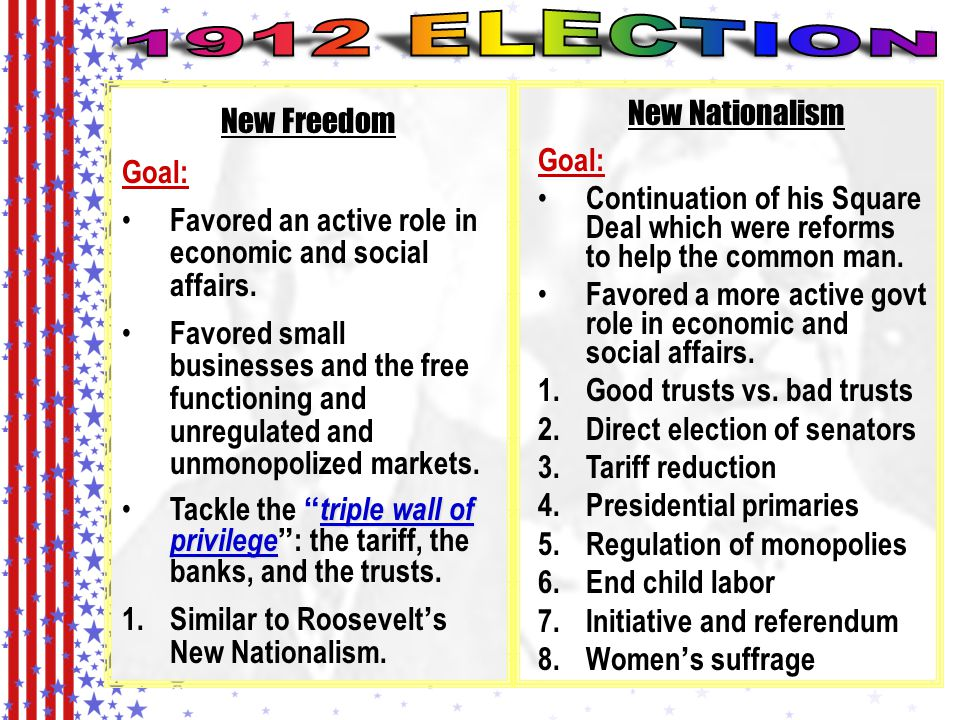 1912 ELECTION New Nationalism New Freedom Goal: Goal: