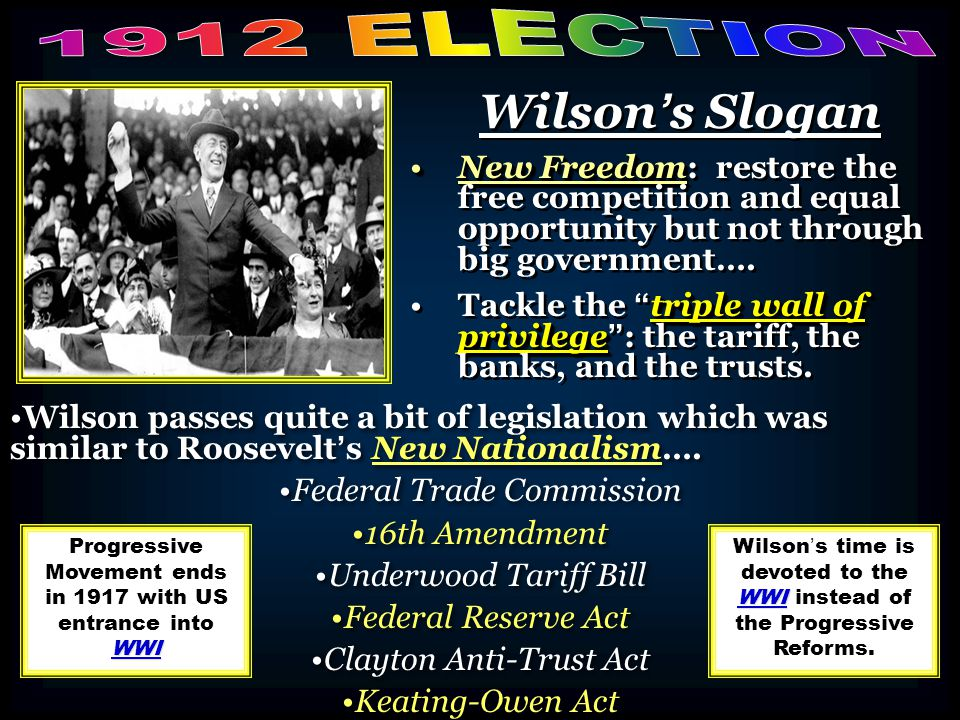 1912 ELECTION Wilson's Slogan