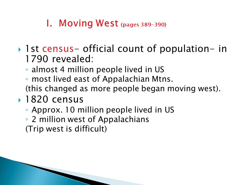 1st census- official count of population- in 1790 revealed: