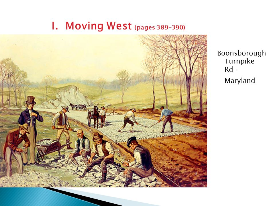 I. Moving West (pages 389–390) Boonsborough Turnpike Rd- Maryland
