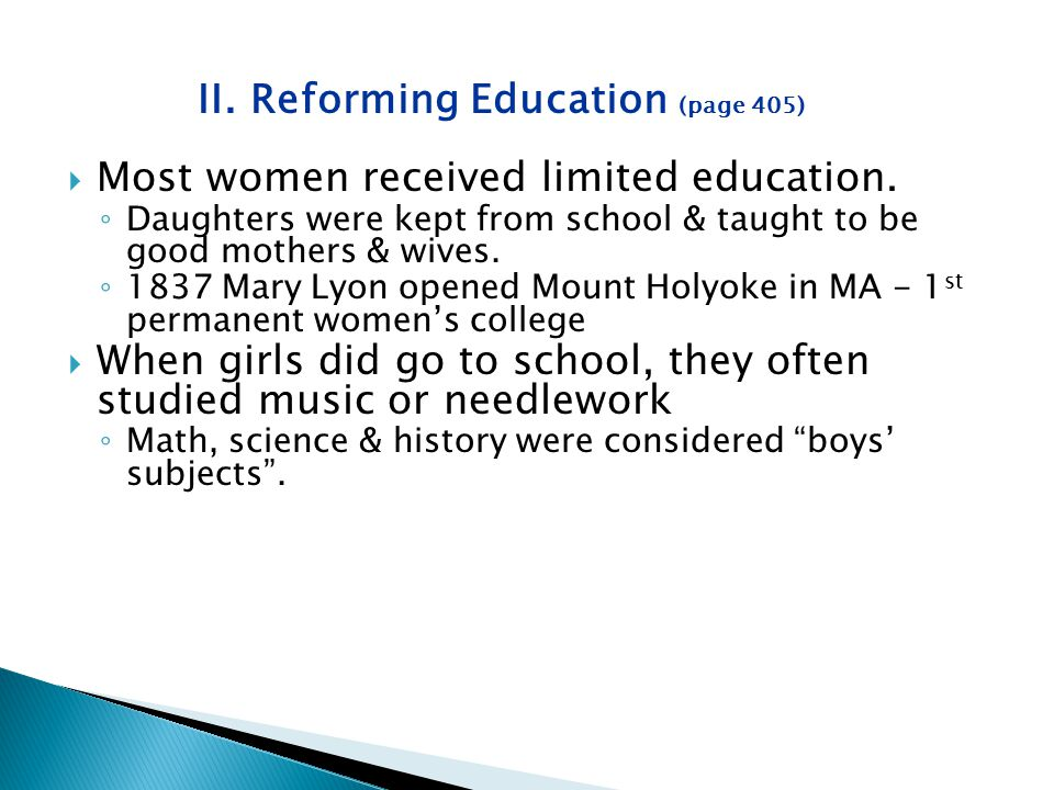 II. Reforming Education (page 405)