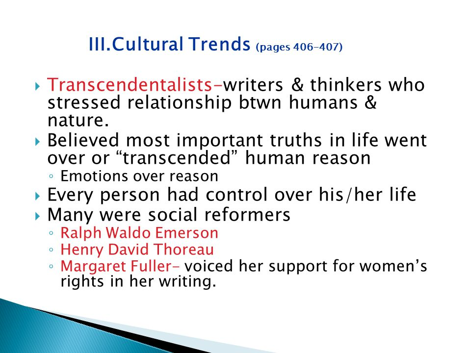 III. Cultural Trends (pages 406–407)