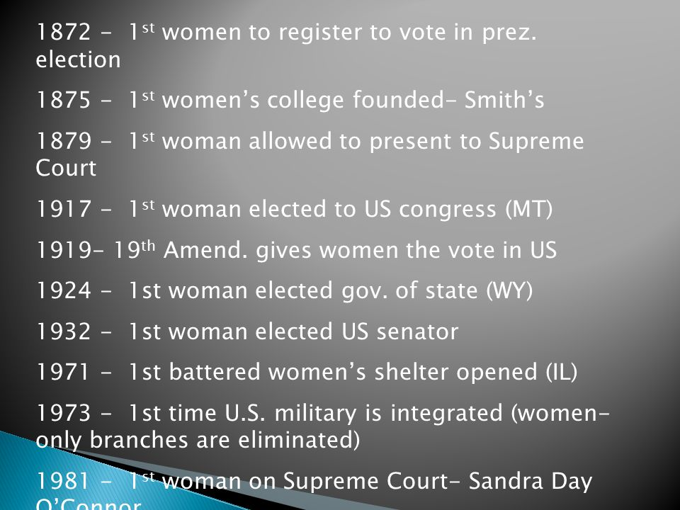 1872 - 1st women to register to vote in prez. election