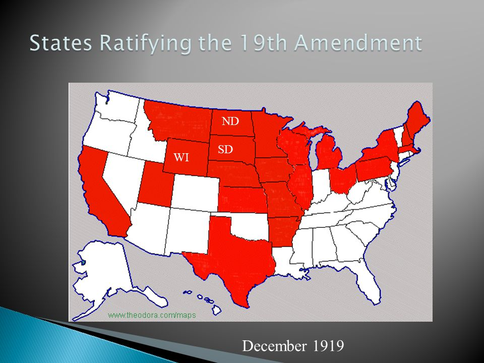 States Ratifying the 19th Amendment