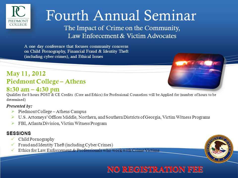 Fourth Annual Seminar NO REGISTRATION FEE