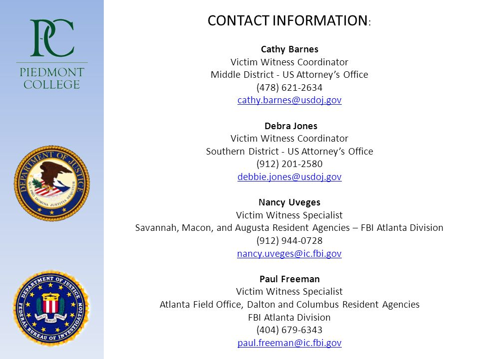CONTACT INFORMATION: Cathy Barnes. Victim Witness Coordinator. Middle District - US Attorney's Office.