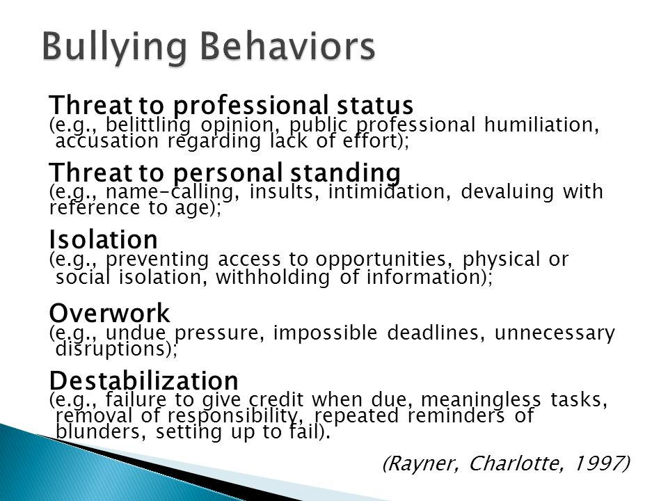 Bullying Behaviors Threat to professional status