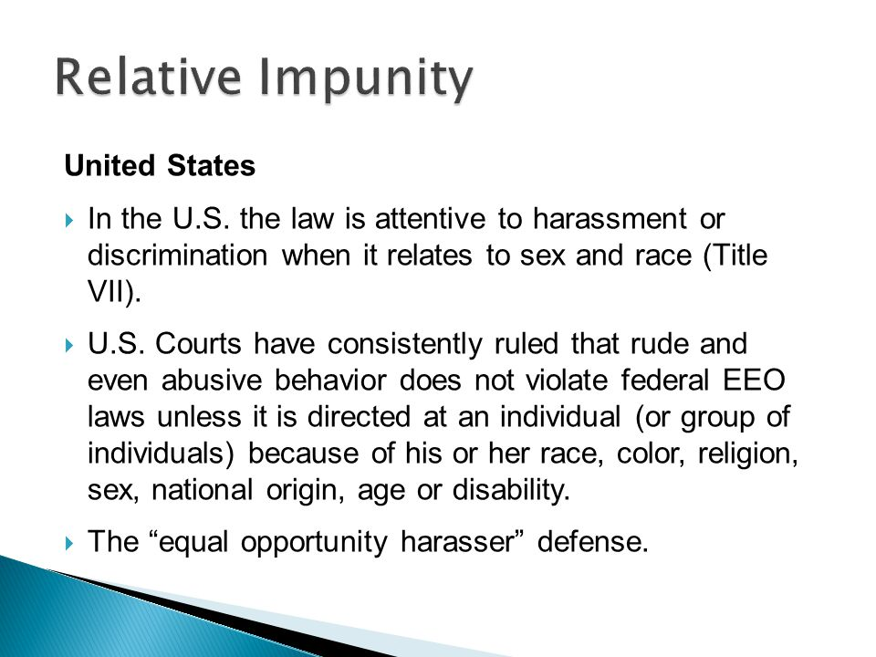 Relative Impunity United States