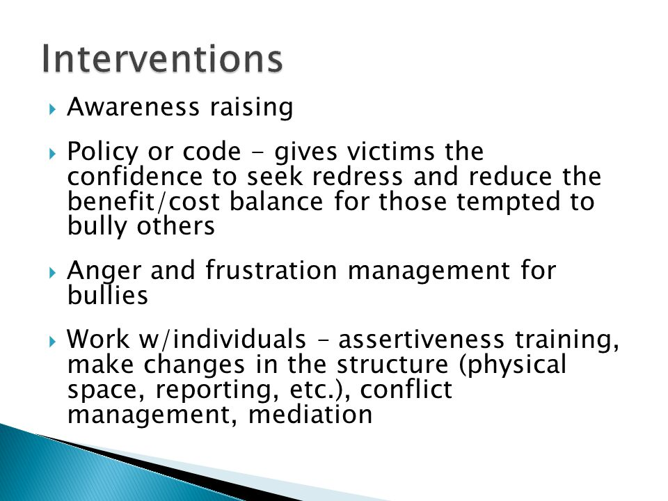 Interventions Awareness raising