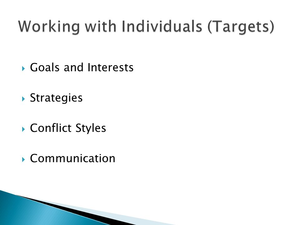 Working with Individuals (Targets)