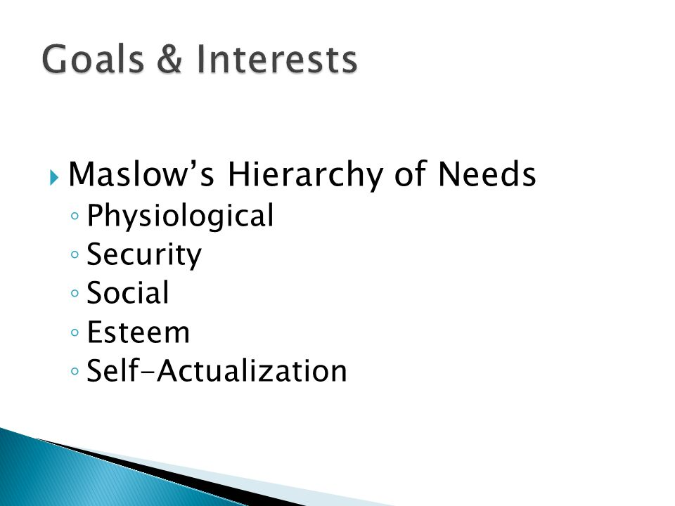 Goals & Interests Maslow's Hierarchy of Needs Physiological Security