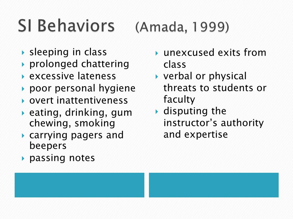 SI Behaviors (Amada, 1999) sleeping in class prolonged chattering