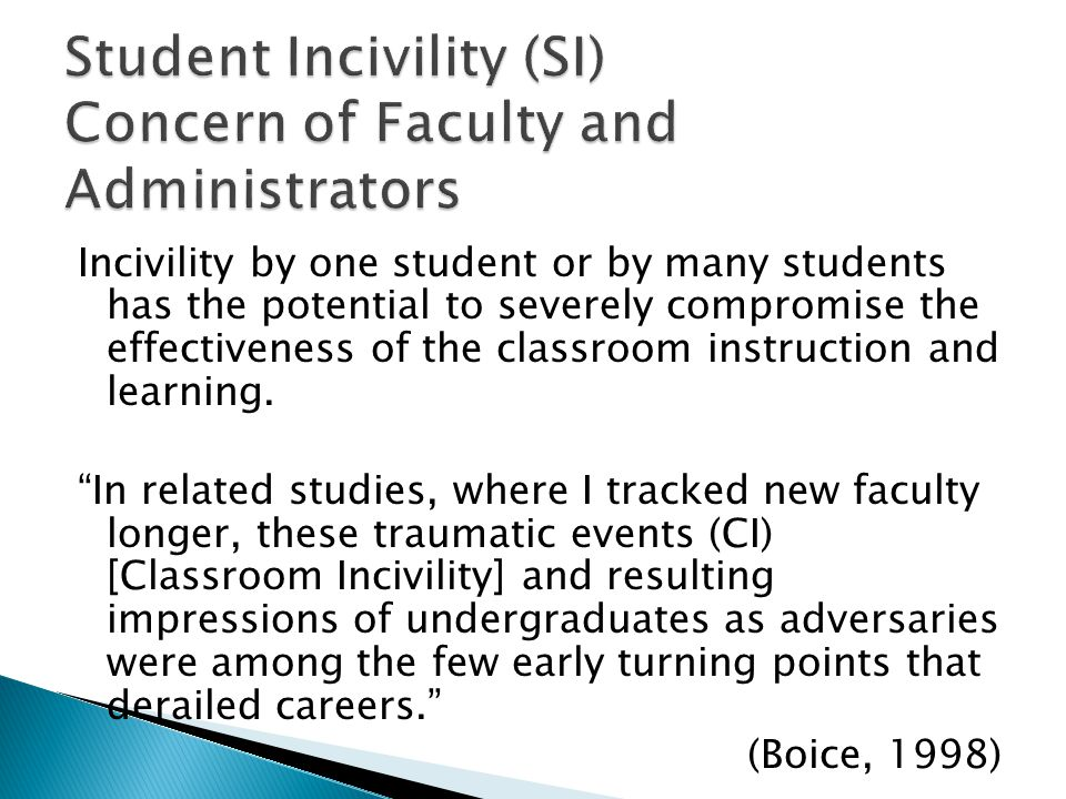 Student Incivility (SI) Concern of Faculty and Administrators