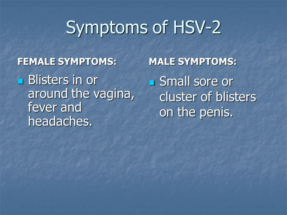 Symptoms of HSV-2 FEMALE SYMPTOMS: MALE SYMPTOMS: Blisters in or around the vagina, fever and headaches.