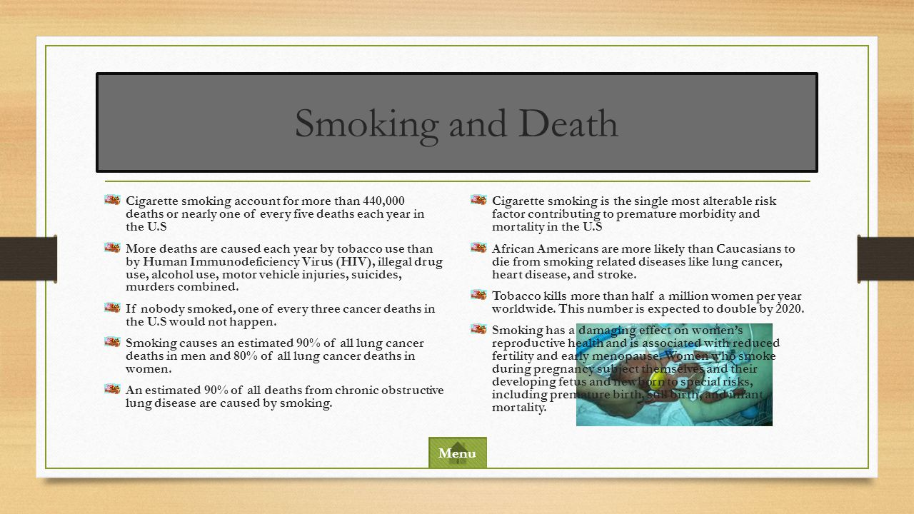 Smoking and Death Cigarette smoking account for more than 440,000 deaths or nearly one of every five deaths each year in the U.S.