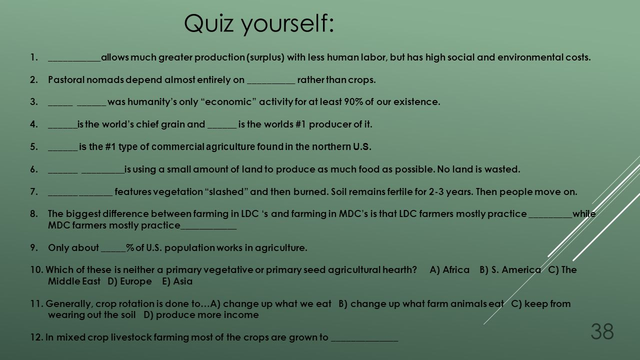 Quiz yourself: ___________allows much greater production (surplus) with less human labor, but has high social and environmental costs.