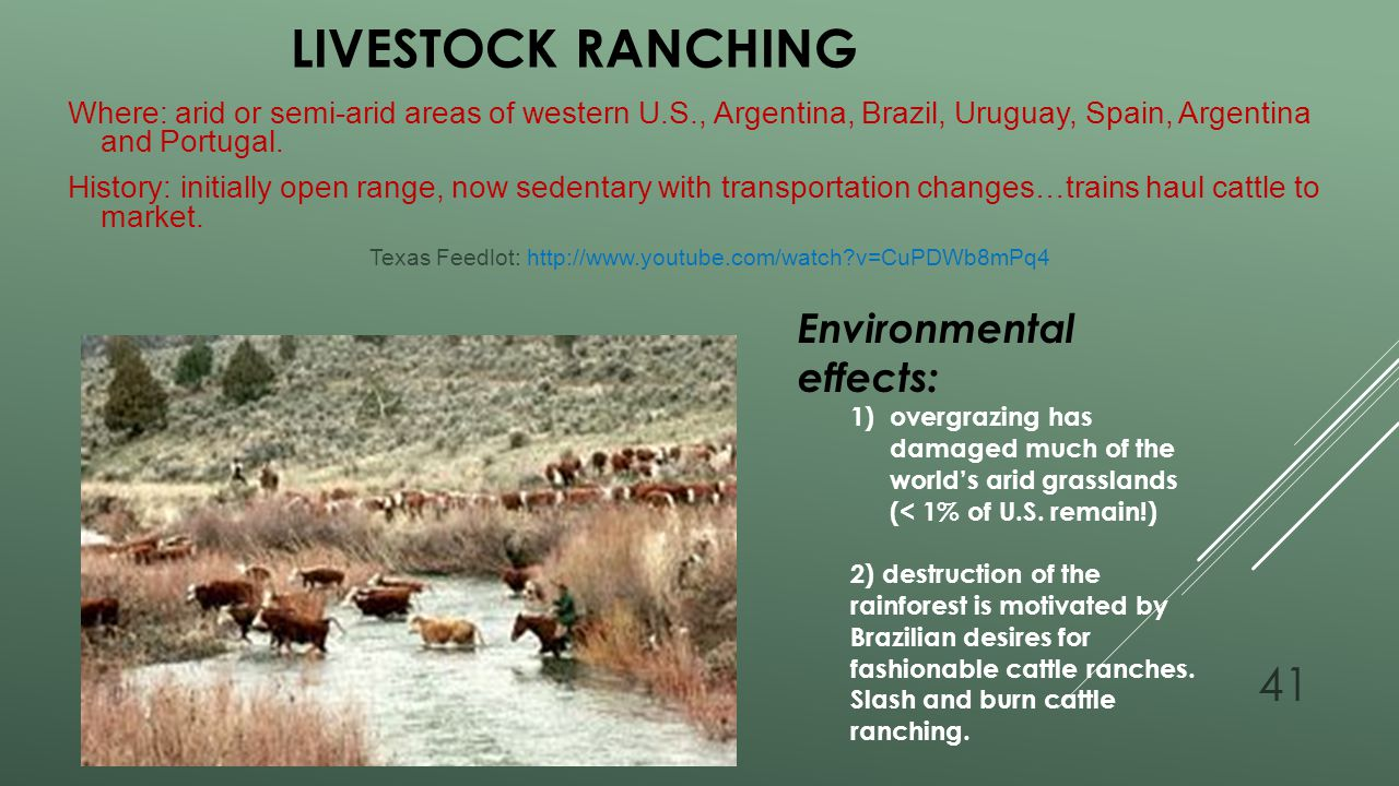 Livestock Ranching Environmental effects: