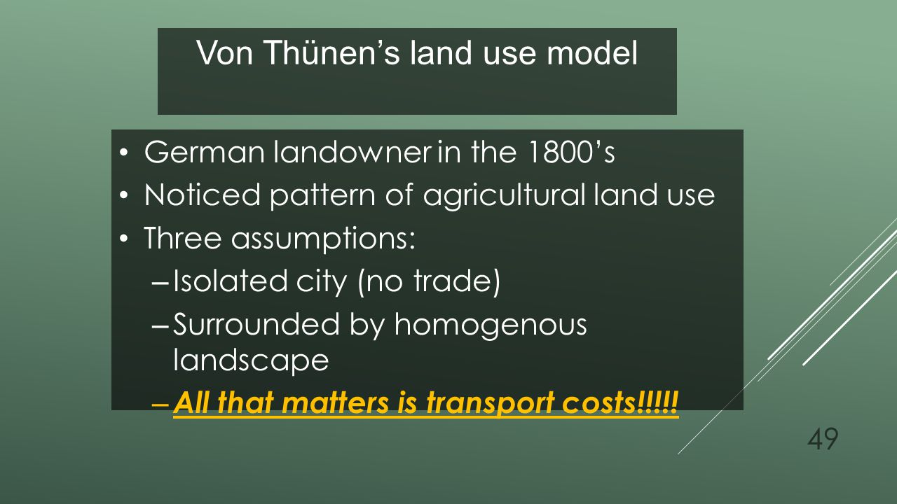 Von Thünen's land use model