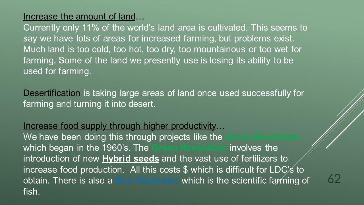 Increase the amount of land…