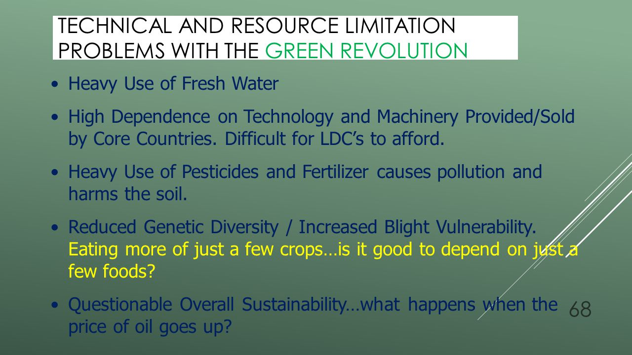 Technical and Resource Limitation Problems with the Green Revolution