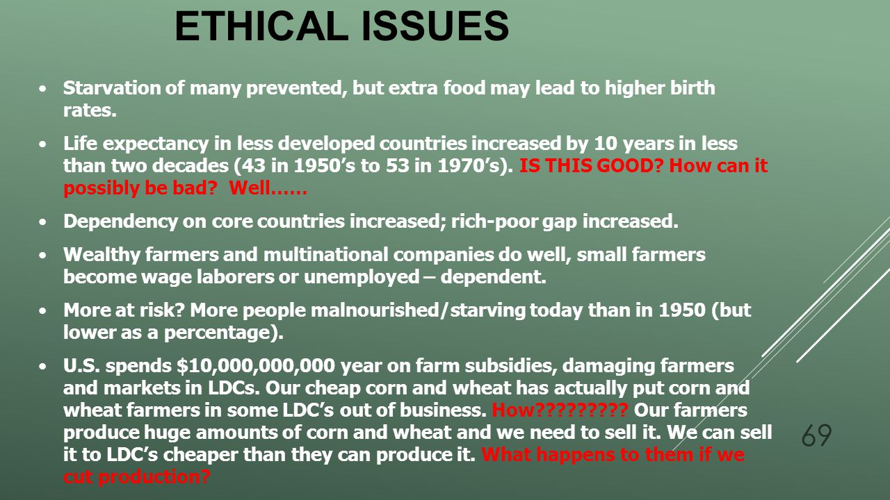 Ethical Issues Starvation of many prevented, but extra food may lead to higher birth rates.