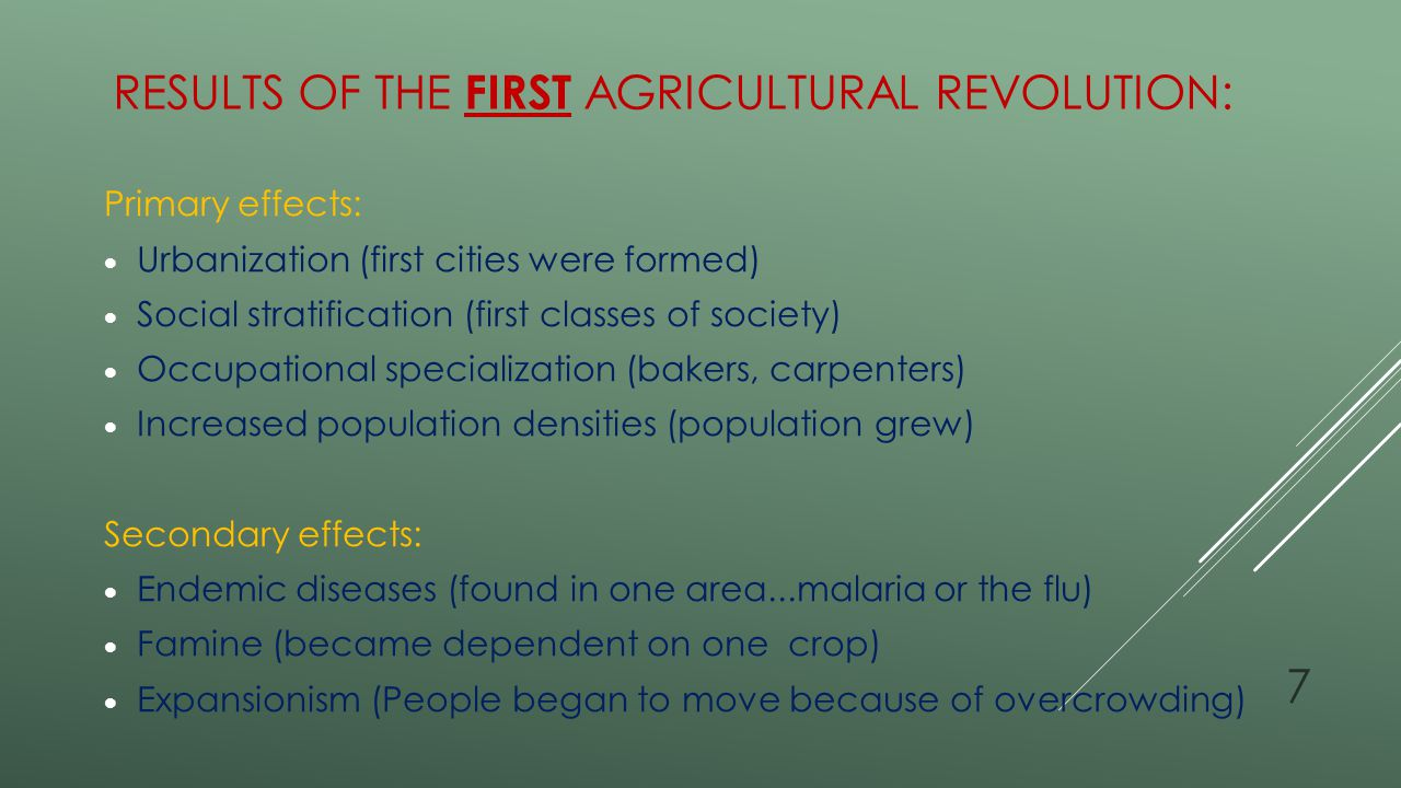 Results of the First Agricultural Revolution: