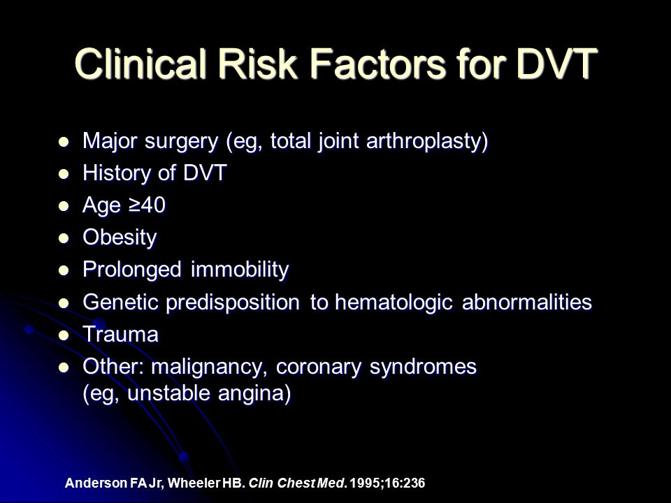 Clinical Risk Factors for DVT