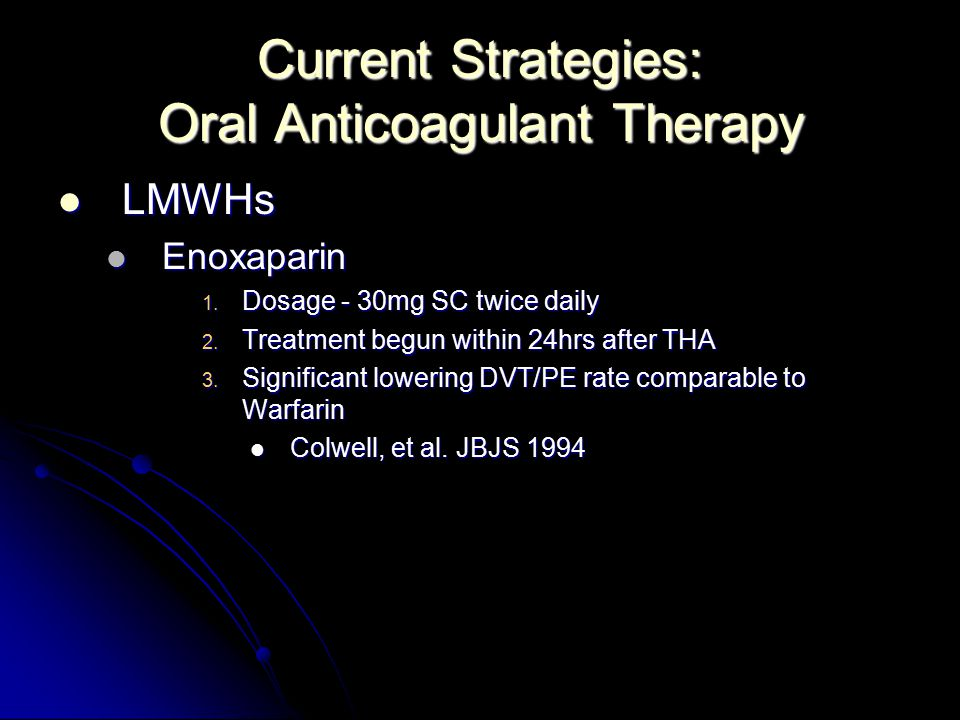 Current Strategies: Oral Anticoagulant Therapy