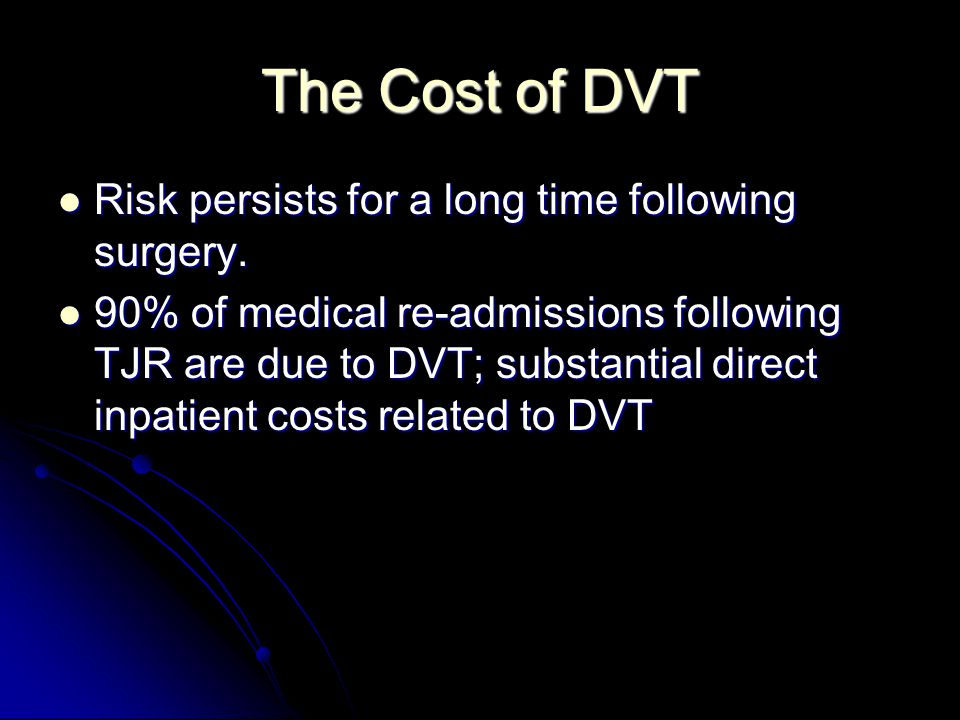 The Cost of DVT Risk persists for a long time following surgery.