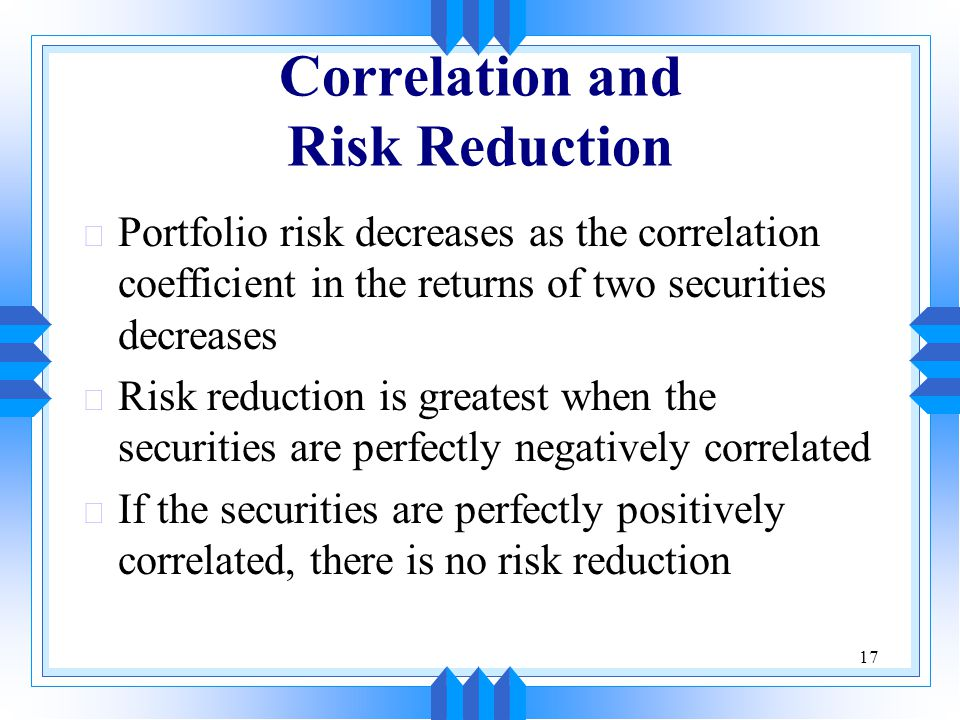 Correlation and Risk Reduction