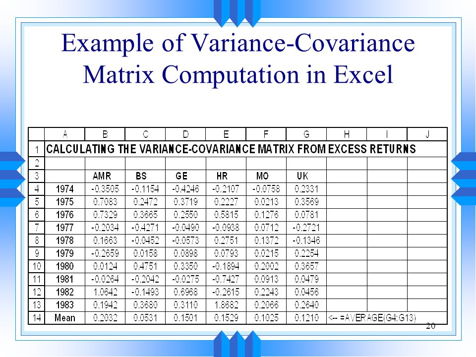 Example of Variance-Covariance Matrix Computation in Excel