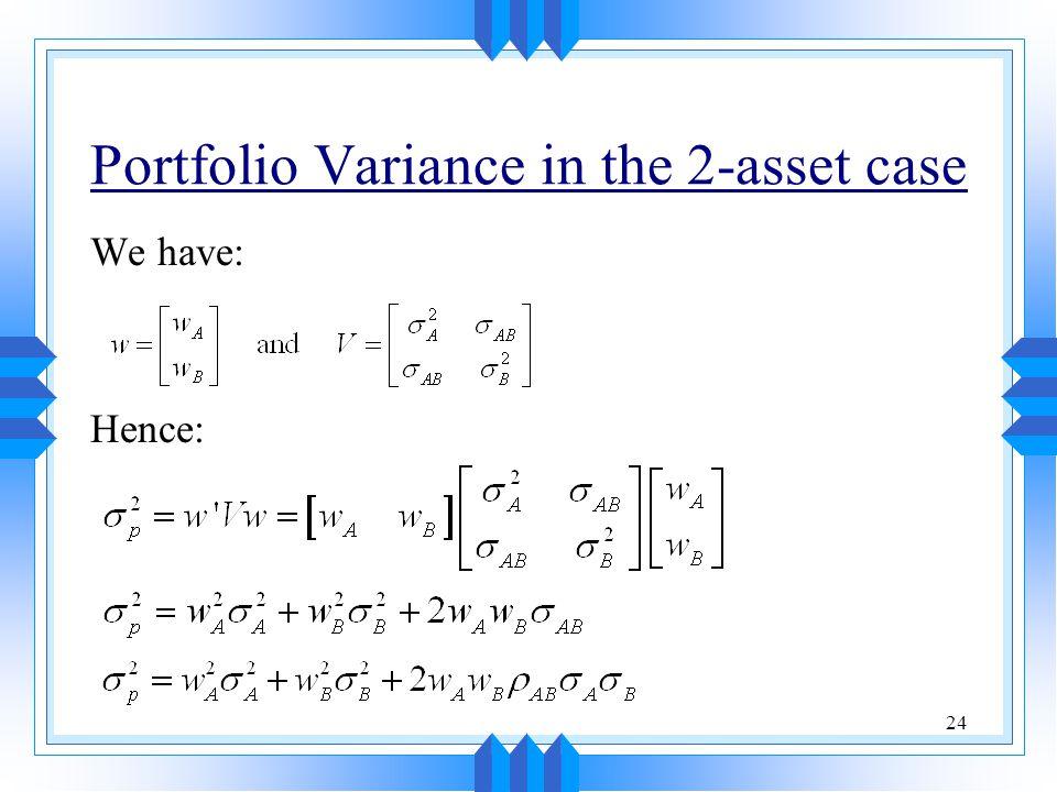Portfolio Variance in the 2-asset case