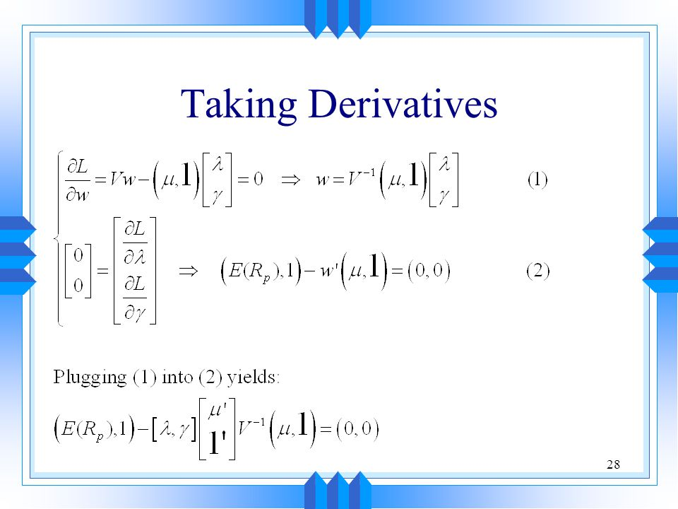 Taking Derivatives